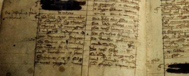 Bild: Die erste Erwähnung der Bruchmeister: Stadtverfassung im Bürgerbuch (Liber Burgensium, auch rotes Buch genannt) von 1303